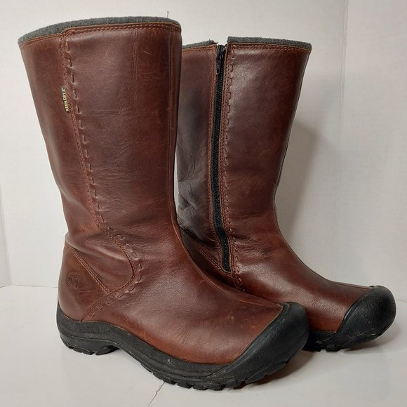 KEEN Dry Tall Women's Boots Brown Leather Zip Size